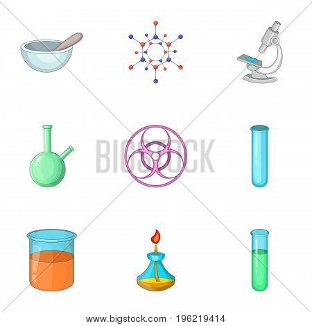 Test of biological weapons icons set. Cartoon set of 9 test of biological weapons vector icons for web isolated on white background