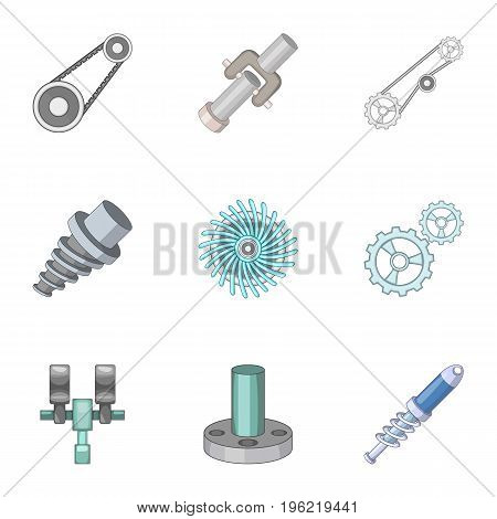 Spare parts for machine tools icons set. Cartoon set of 9 spare parts for machine tools vector icons for web isolated on white background