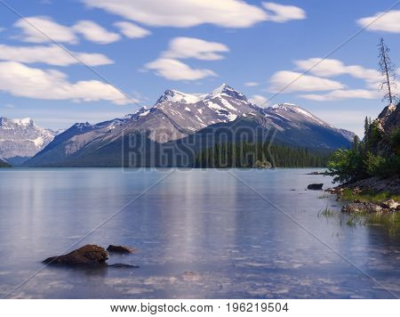 View Over Maligne Lake and Snowcapped Mountains on a Summers Day