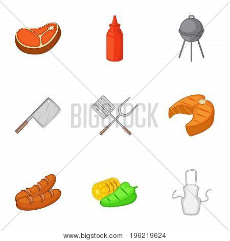 BBQ equipment icons set. Cartoon set of 9 BBQ equipment vector icons for web isolated on white background