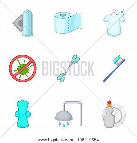 Purity things icons set. Cartoon set of 9 purity things vector icons for web isolated on white background poster
