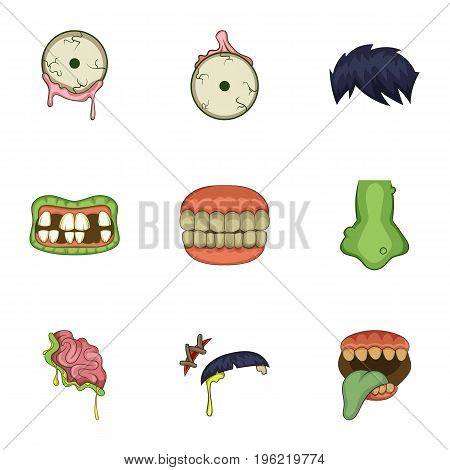 Dead body part icons set. Cartoon set of 9 dead body part vector icons for web isolated on white background