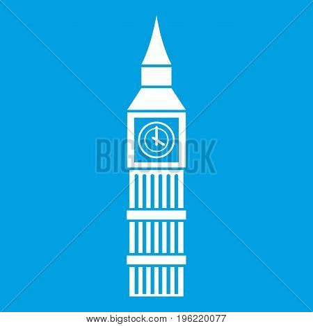 Big Ben clock icon white isolated on blue background vector illustration