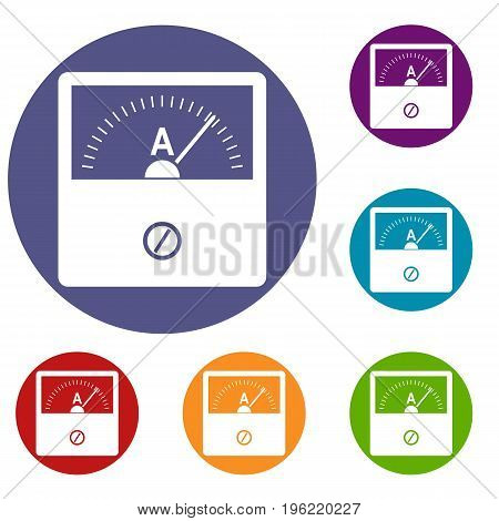 Counter icons set in flat circle red, blue and green color for web