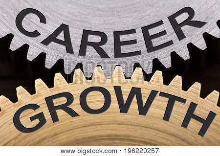 Closeup of career growth concept on interlocked gearwheels