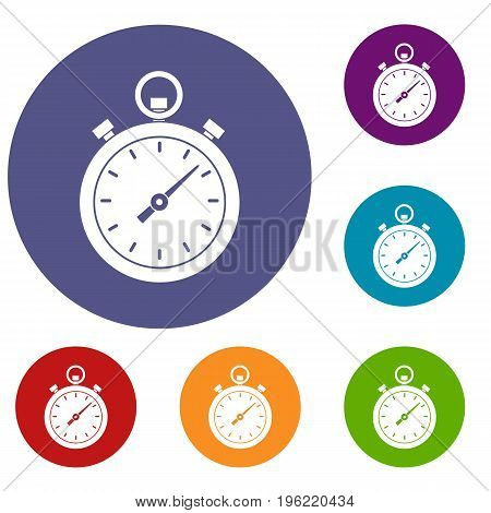Chronometer icons set in flat circle red, blue and green color for web