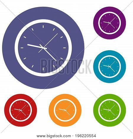 Wall clock icons set in flat circle red, blue and green color for web