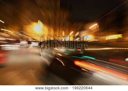 Traffic of cars in the city at rush hour long exposure shot.
