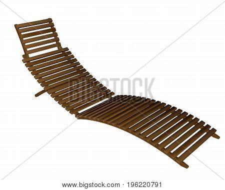Wooden lounger isolated in white background - 3D render