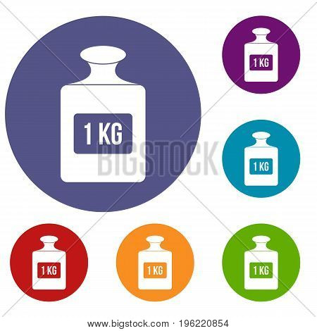 One kilogram weight icons set in flat circle red, blue and green color for web