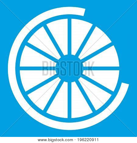 Sign incomplete download icon white isolated on blue background vector illustration
