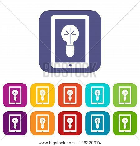 Idea lamp on gadget screen icons set vector illustration in flat style in colors red, blue, green, and other