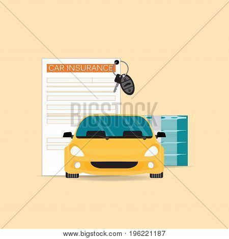 Car insurance with claim form conceptual isolated on background car safety security vector illustration.