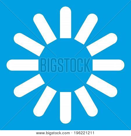 Sign download icon white isolated on blue background vector illustration