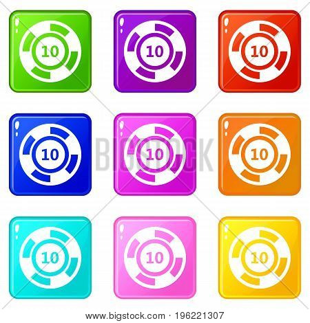 Casino chip icons of 9 color set isolated vector illustration