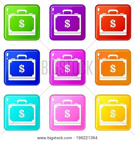 Briefcase full of money icons of 9 color set isolated vector illustration