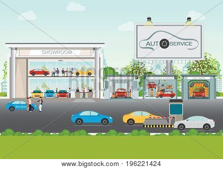 Set of car service station showroom carwash paint booth service and repair shop interior banner bill board concept posters banners flat style design elements vector illustration.