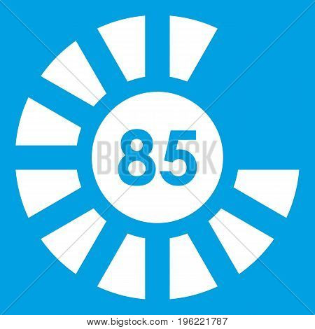 Sign 85 load icon white isolated on blue background vector illustration