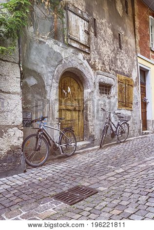 Street with bicycles in old city of Solothurn by day, Switzerland