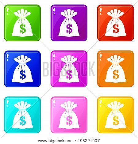 Bag with dollars icons of 9 color set isolated vector illustration