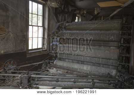 Vintage Wool Textile Machinery In Factory