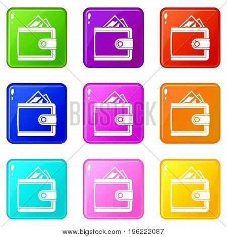 Leather purse icons of 9 color set isolated vector illustration