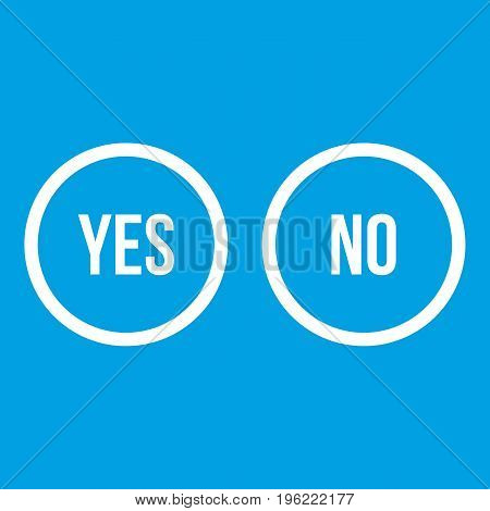 Selection buttons yes and no icon white isolated on blue background vector illustration