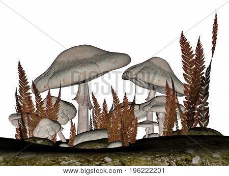 White mushrooms and vegetation isolated in white background - 3D render