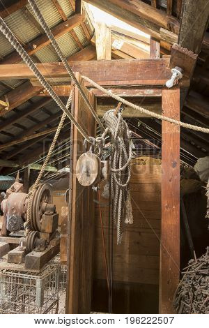 Block And Tackle In Wooden Attic