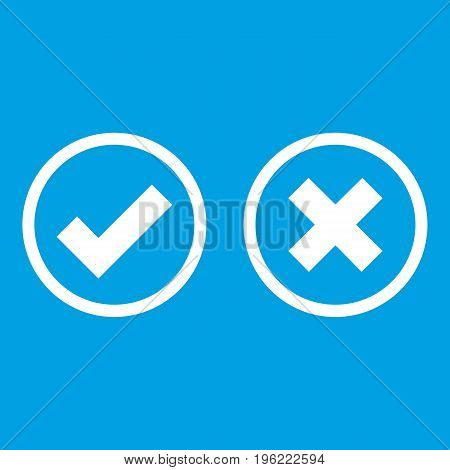 Tick and cross selection icon white isolated on blue background vector illustration