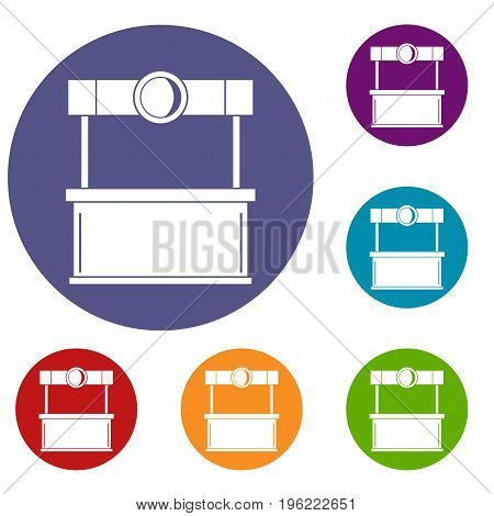 Shopping counter icons set in flat circle red, blue and green color for web