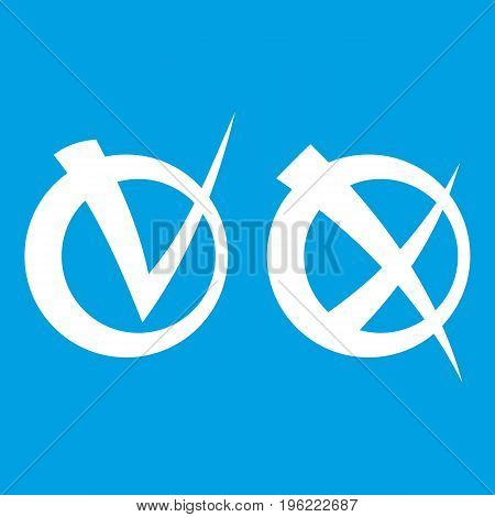 Tick and cross in circles icon white isolated on blue background vector illustration