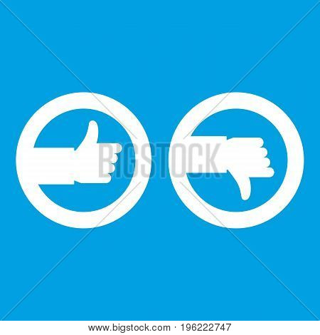 Signs hand up and down icon white isolated on blue background vector illustration