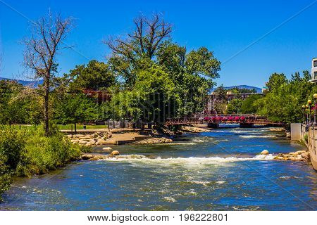 Walking Bridge Over Truckee River In Reno, Nevada