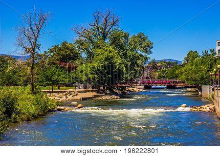 Walking Bridge Over Truckee River In Reno, Nevada