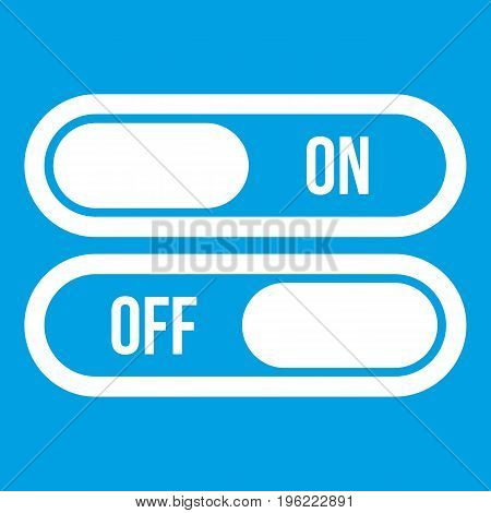 Button on and off icon white isolated on blue background vector illustration