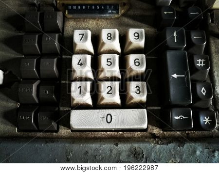 Number keyboard. Picture in dark and retro tone