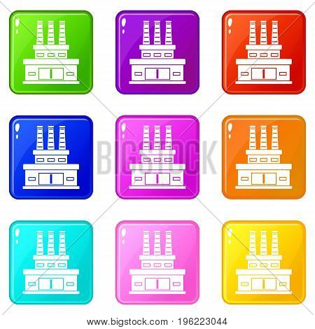 Large oil refinery icons of 9 color set isolated vector illustration