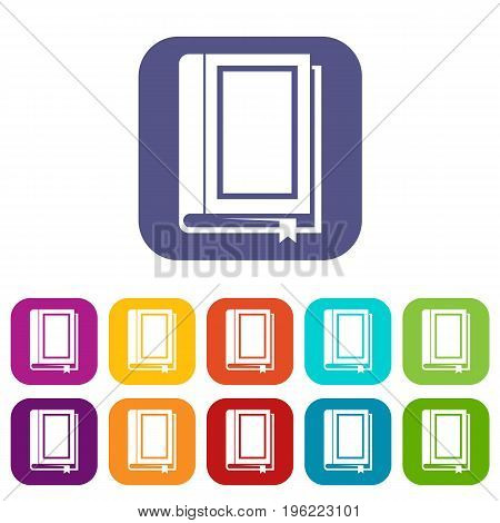 Book icons set vector illustration in flat style in colors red, blue, green, and other