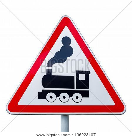 Sign of a railway crossing without a barrier isolated on white