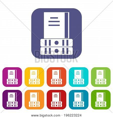 Three books icons set vector illustration in flat style in colors red, blue, green, and other