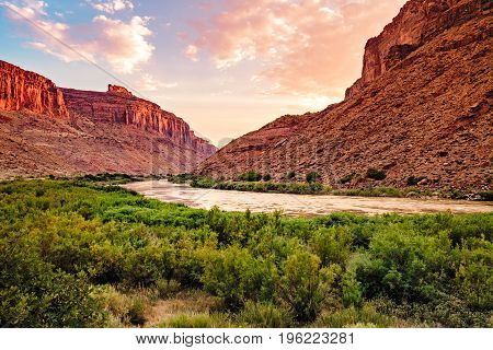 Colorado River sunset in Moab Utah. Red Sandstones.