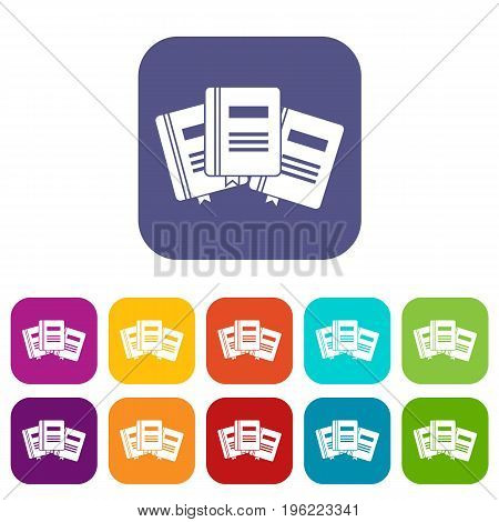 Three books with bookmarks icons set vector illustration in flat style in colors red, blue, green, and other