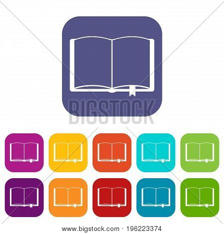 Open book with bookmark icons set vector illustration in flat style in colors red, blue, green, and other