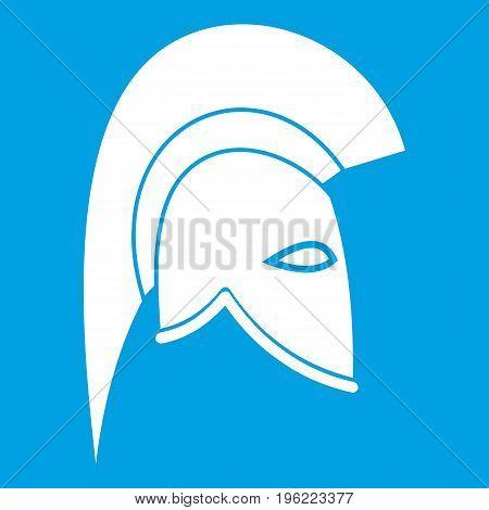 Roman helmet icon white isolated on blue background vector illustration