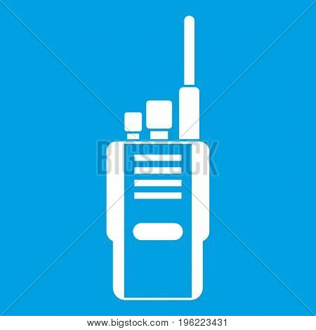 Radio icon white isolated on blue background vector illustration