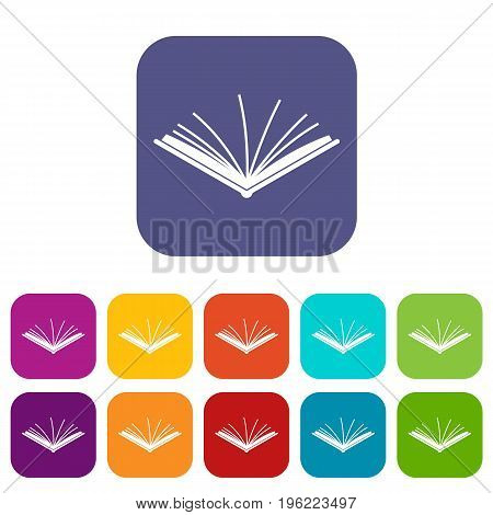 Open tutorial icons set vector illustration in flat style in colors red, blue, green, and other