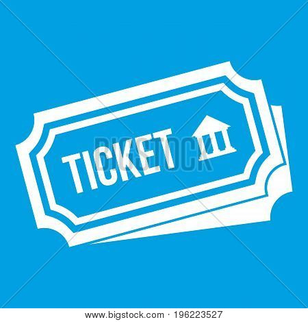 Ticket icon white isolated on blue background vector illustration