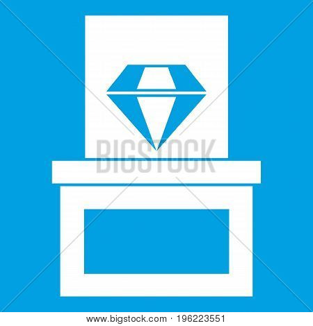 Diamond in box icon white isolated on blue background vector illustration
