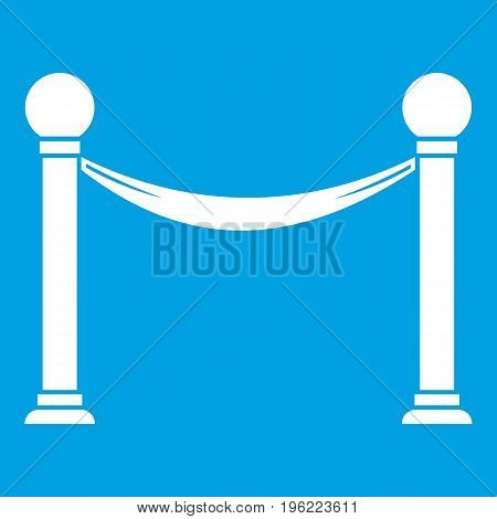 Column with ribbon icon white isolated on blue background vector illustration